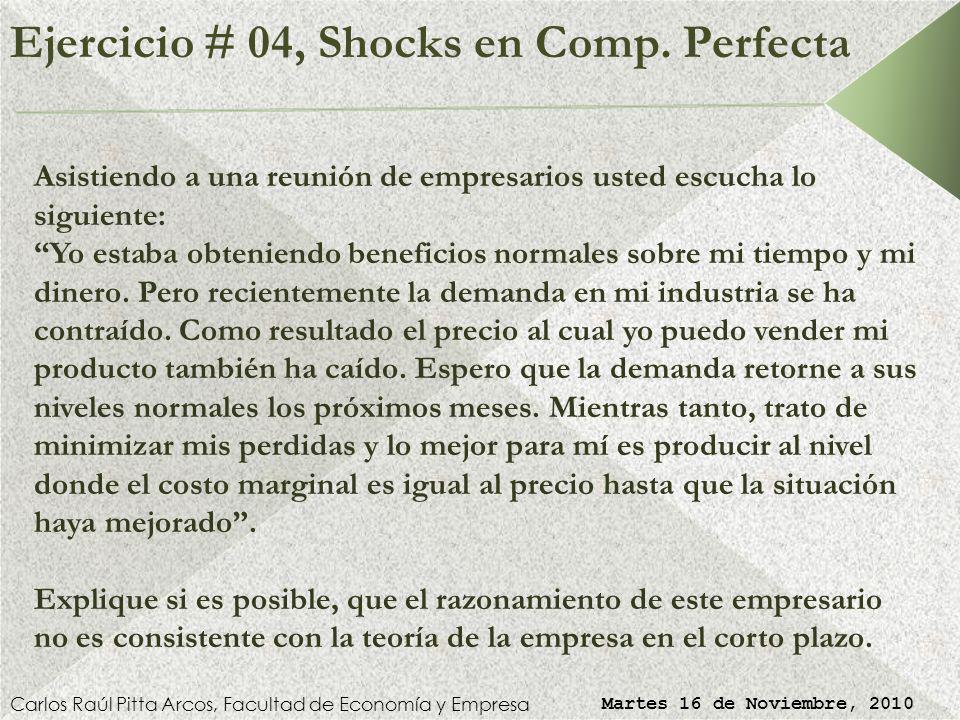 Ejercicio # 03, Shocks en CP (Solución) Carlos Raúl Pitta Arcos, Facultad de Economía y Empresa Martes 16 de Noviembre, 2010 Al registrar pérdidas por