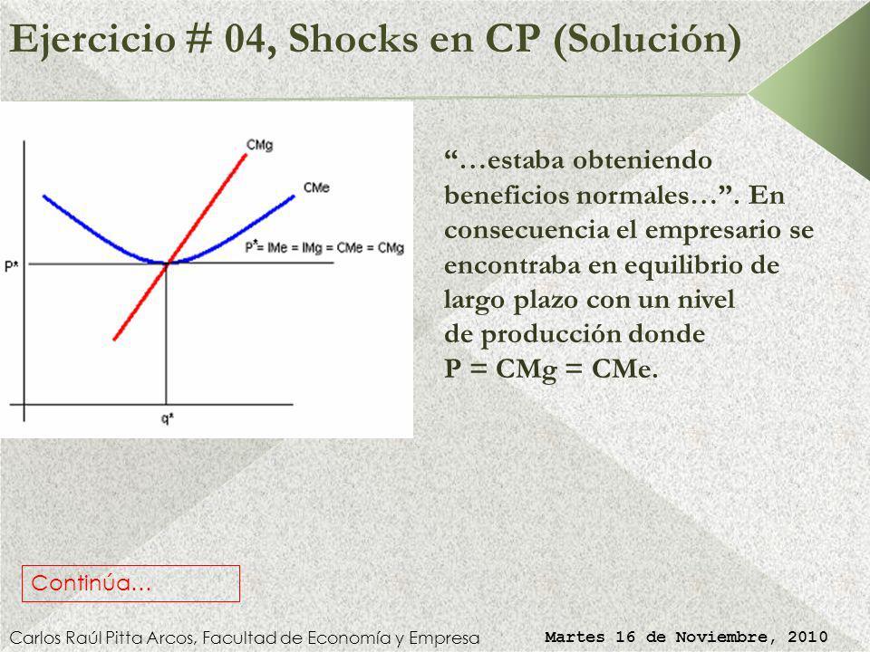 Ejercicio # 04, Shocks en Comp. Perfecta Carlos Raúl Pitta Arcos, Facultad de Economía y Empresa Martes 16 de Noviembre, 2010 Asistiendo a una reunión