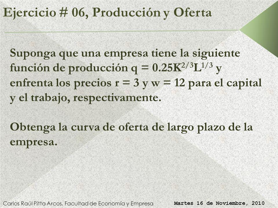Ejercicio # 05, Oferta Competitiva Carlos Raúl Pitta Arcos, Facultad de Economía y Empresa Martes 16 de Noviembre, 2010 Precio de Cierre ( ): CVMe = C