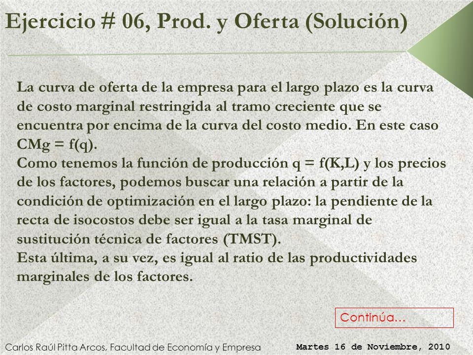 Ejercicio # 06, Producción y Oferta Carlos Raúl Pitta Arcos, Facultad de Economía y Empresa Martes 16 de Noviembre, 2010 Suponga que una empresa tiene