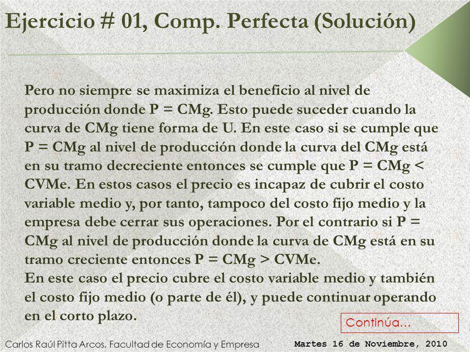 Ejercicio # 01, Comp. Perfecta (Solución) Carlos Raúl Pitta Arcos, Facultad de Economía y Empresa Martes 16 de Noviembre, 2010 VERDADERO. La maximizac