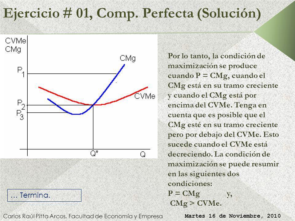 Ejercicio # 01, Comp. Perfecta (Solución) Carlos Raúl Pitta Arcos, Facultad de Economía y Empresa Martes 16 de Noviembre, 2010 En P3 la empresa se enc