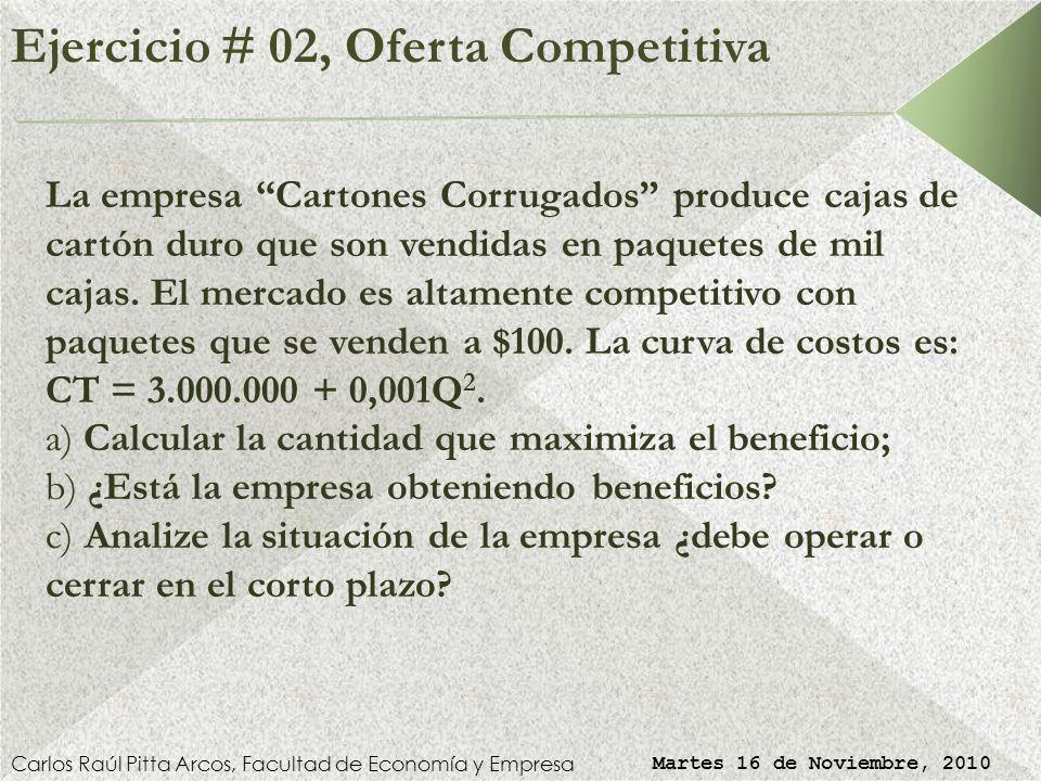 Ejercicio # 01, Comp. Perfecta (Solución) Carlos Raúl Pitta Arcos, Facultad de Economía y Empresa Martes 16 de Noviembre, 2010 Por lo tanto, la condic