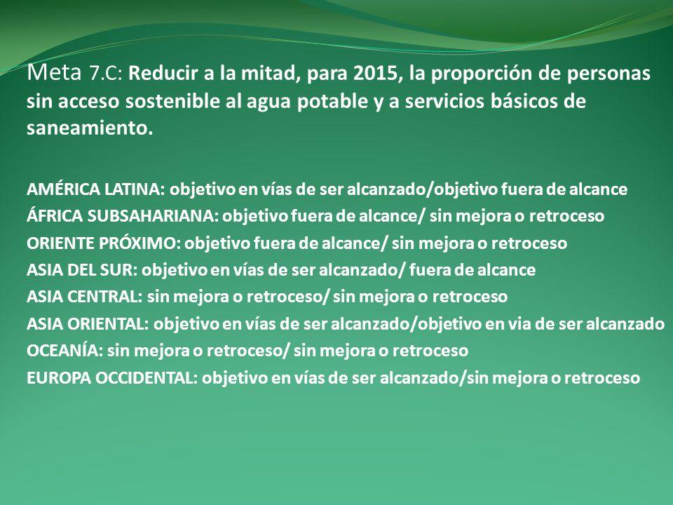 Meta 7.C: Reducir a la mitad, para 2015, la proporción de personas sin acceso sostenible al agua potable y a servicios básicos de saneamiento. AMÉRICA