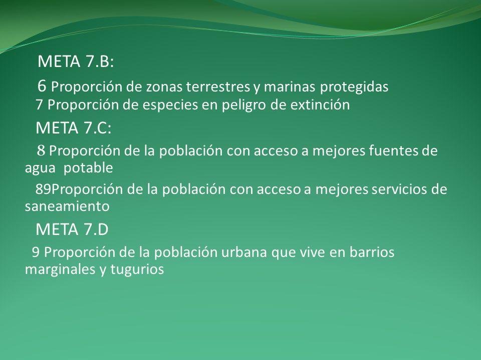 META 7.B: 6 Proporción de zonas terrestres y marinas protegidas 7 Proporción de especies en peligro de extinción META 7.C: 8 Proporción de la població