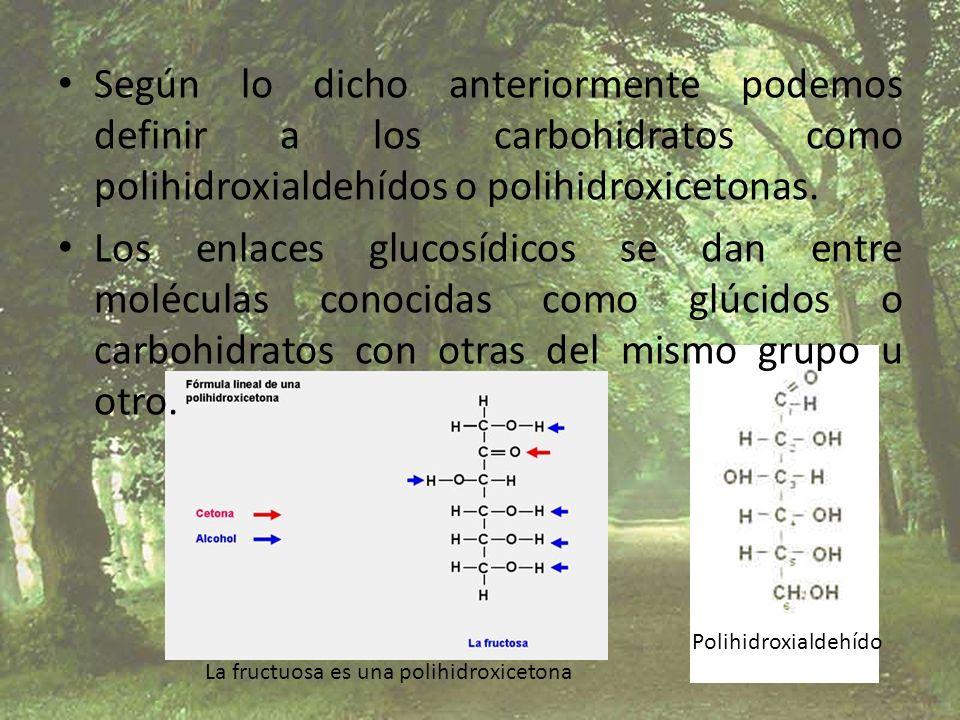 Según lo dicho anteriormente podemos definir a los carbohidratos como polihidroxialdehídos o polihidroxicetonas. Los enlaces glucosídicos se dan entre