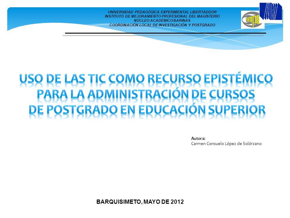 BARQUISIMETO, MAYO DE 2012 Autora: Carmen Consuelo López de Solórzano UNIVERSIDAD PEDAGÓGICA EXPERIMENTAL LIBERTADDOR INSTITUTO DE MEJORAMIENTO PROFES