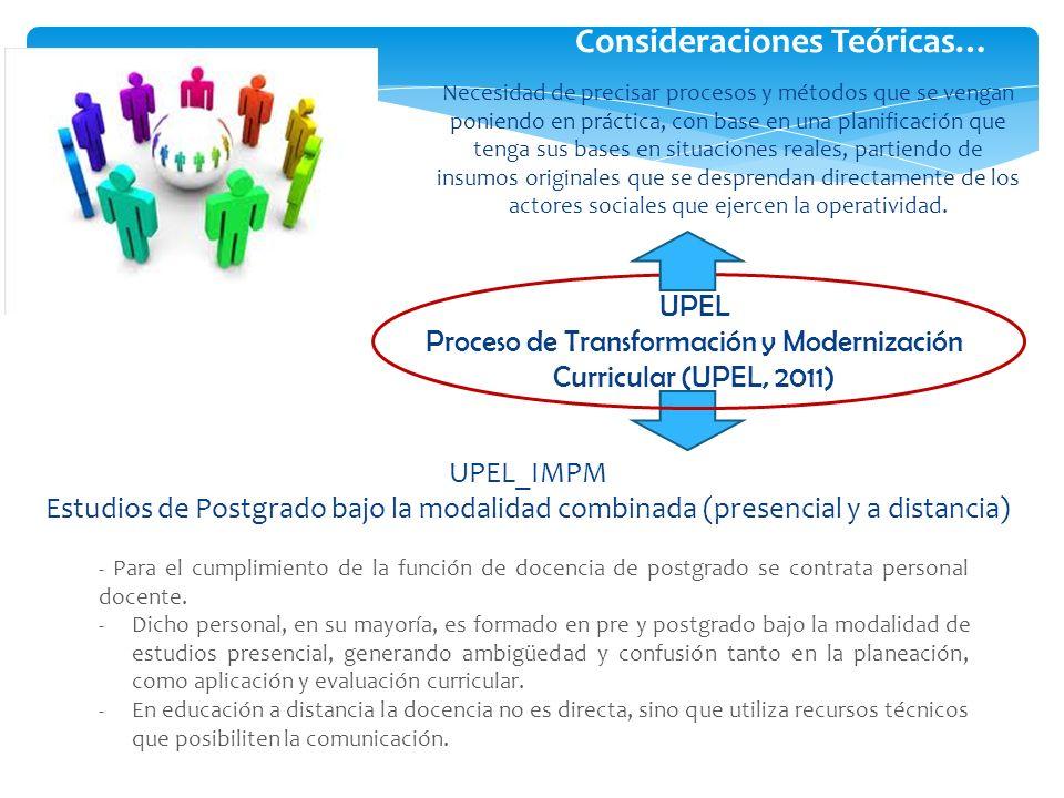 Consideraciones Teóricas… UPEL Proceso de Transformación y Modernización Curricular (UPEL, 2011) - Para el cumplimiento de la función de docencia de p