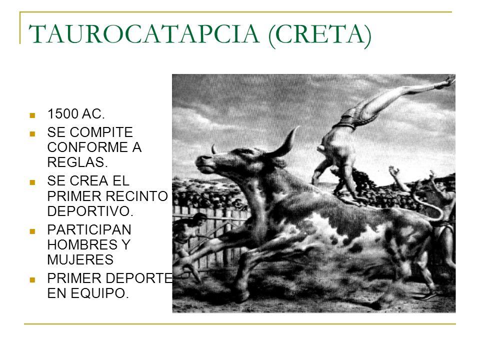 TAUROCATAPCIA (CRETA) 1500 AC. SE COMPITE CONFORME A REGLAS. SE CREA EL PRIMER RECINTO DEPORTIVO. PARTICIPAN HOMBRES Y MUJERES PRIMER DEPORTE EN EQUIP