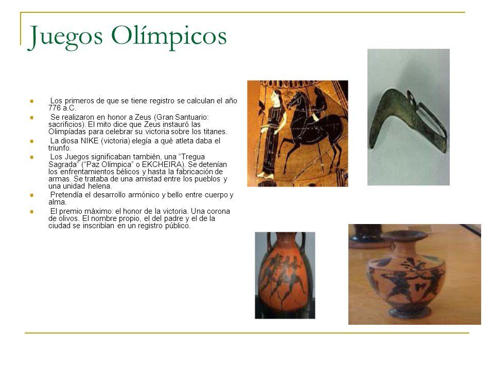 Juegos Olímpicos Los primeros de que se tiene registro se calculan el año 776 a.C. Se realizaron en honor a Zeus (Gran Santuario: sacrificios). El mit
