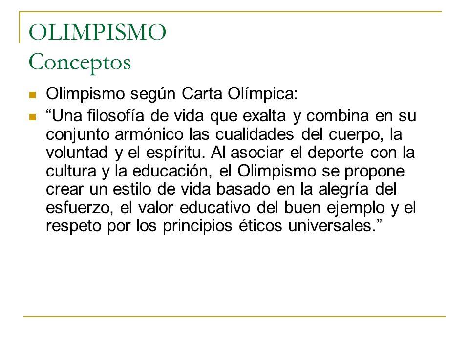 OLIMPISMO Conceptos Olimpismo según Carta Olímpica: Una filosofía de vida que exalta y combina en su conjunto armónico las cualidades del cuerpo, la v