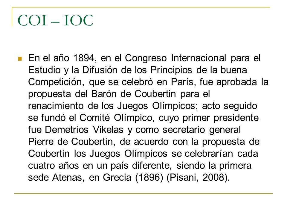 COI – IOC En el año 1894, en el Congreso Internacional para el Estudio y la Difusión de los Principios de la buena Competición, que se celebró en Parí