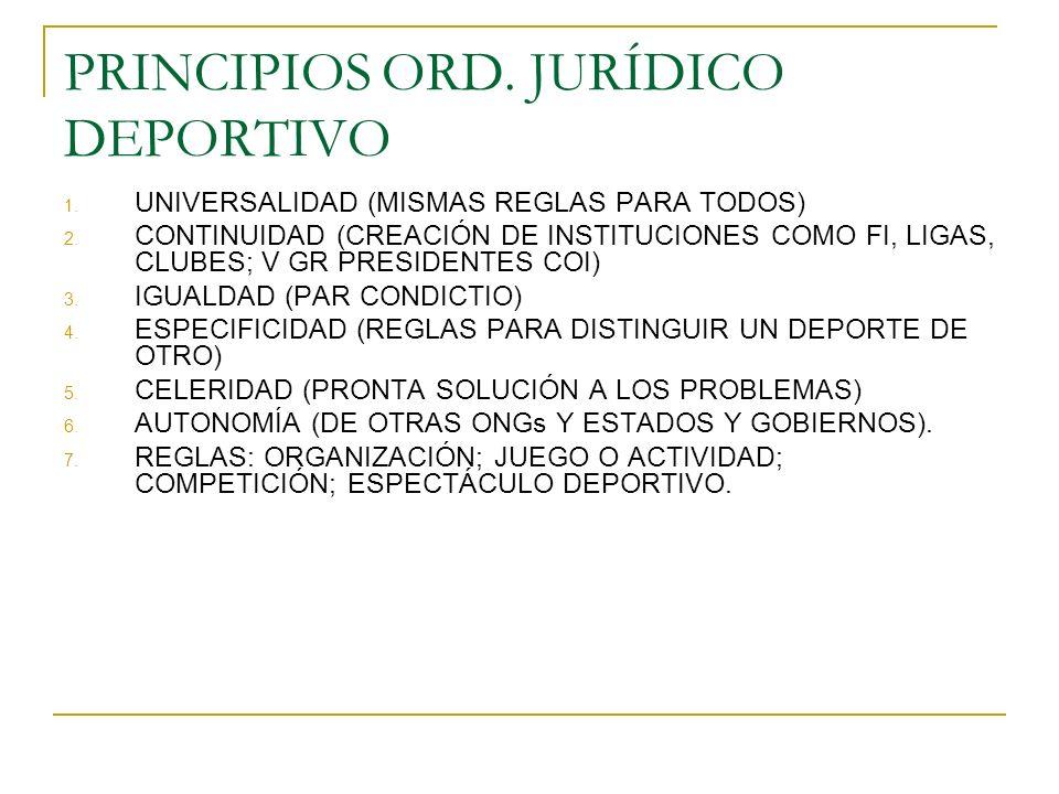 PRINCIPIOSORD. JURÍDICO DEPORTIVO 1. UNIVERSALIDAD (MISMAS REGLAS PARA TODOS) 2. CONTINUIDAD (CREACIÓN DE INSTITUCIONES COMO FI, LIGAS, CLUBES; V GR P