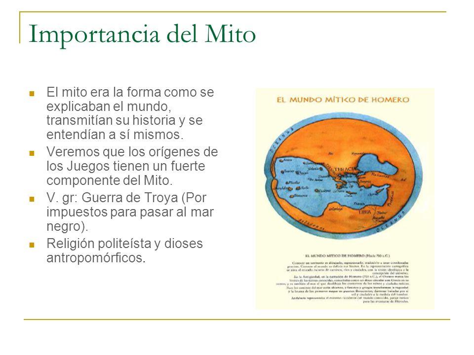 Importancia del Mito El mito era la forma como se explicaban el mundo, transmitían su historia y se entendían a sí mismos. Veremos que los orígenes de