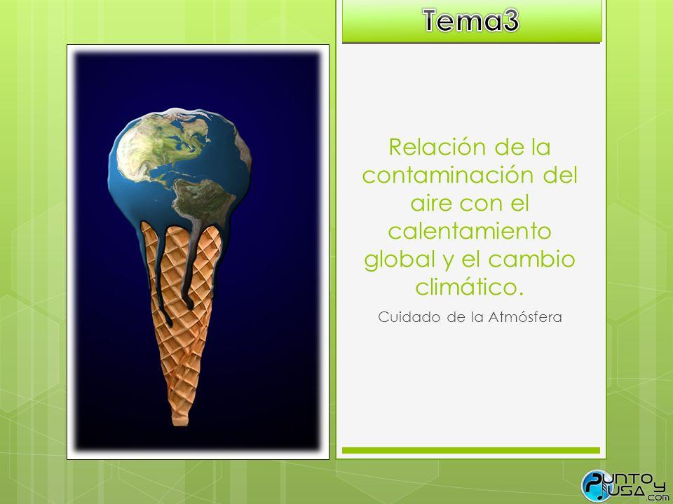Relación de la contaminación del aire con el calentamiento global y el cambio climático. Cuidado de la Atmósfera