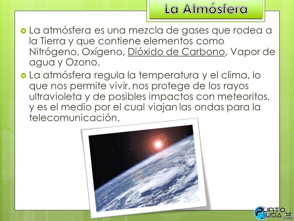 La atmósfera es una mezcla de gases que rodea a la Tierra y que contiene elementos como Nitrógeno, Oxígeno, Dióxido de Carbono, Vapor de agua y Ozono.