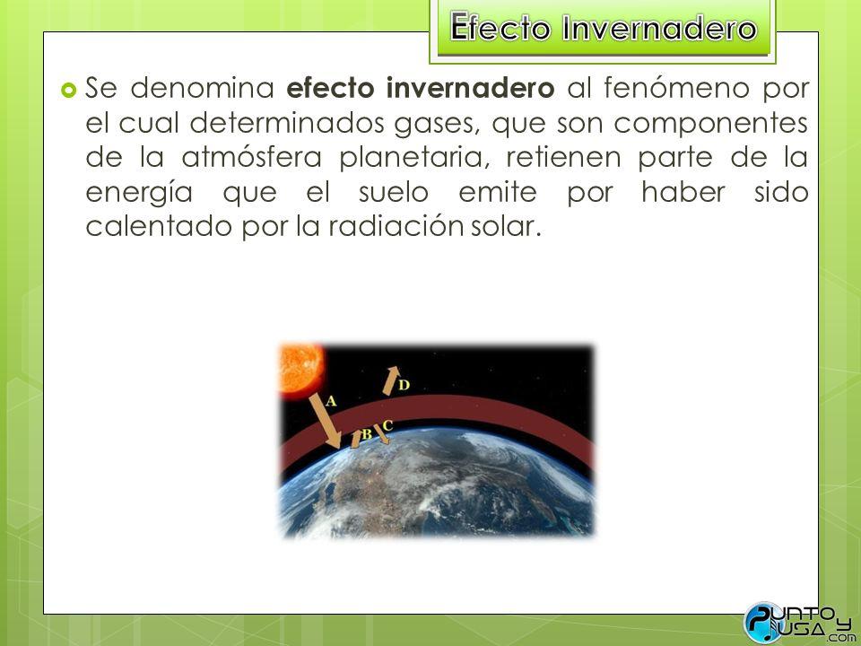 Se denomina efecto invernadero al fenómeno por el cual determinados gases, que son componentes de la atmósfera planetaria, retienen parte de la energí