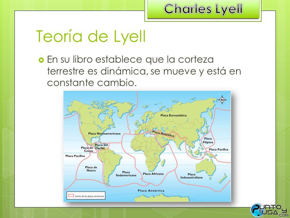 Teoría de Lyell En su libro establece que la corteza terrestre es dinámica, se mueve y está en constante cambio.