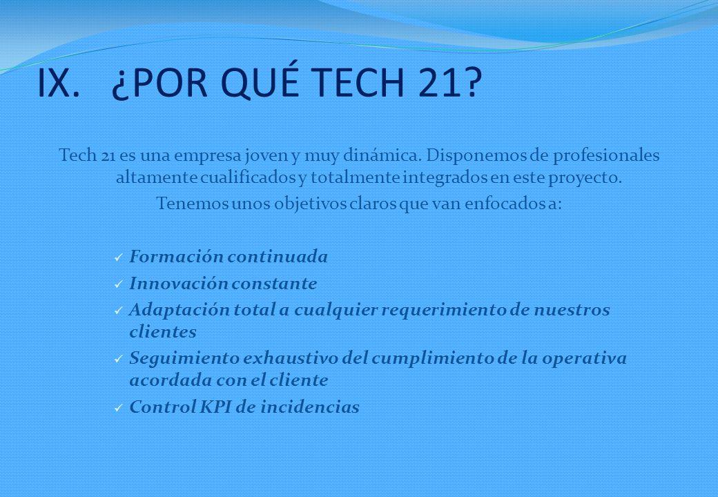 IX.¿POR QUÉ TECH 21.Tech 21 es una empresa joven y muy dinámica.