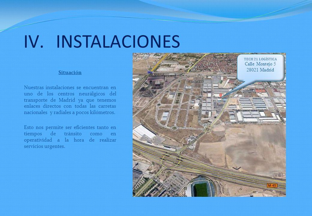 Situación Nuestras instalaciones se encuentran en uno de los centros neurálgicos del transporte de Madrid ya que tenemos enlaces directos con todas las carretas nacionales y radiales a pocos kilómetros.