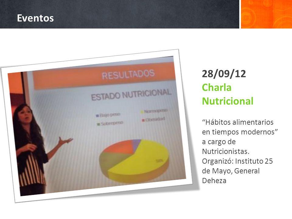 28/09/12 Charla Nutricional Hábitos alimentarios en tiempos modernos a cargo de Nutricionistas. Organizó: Instituto 25 de Mayo, General Deheza Eventos