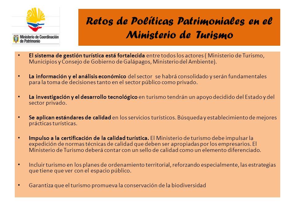 Retos de Políticas Patrimoniales en el Ministerio de Turismo El sistema de gestión turística está fortalecida entre todos los actores ( Ministerio de