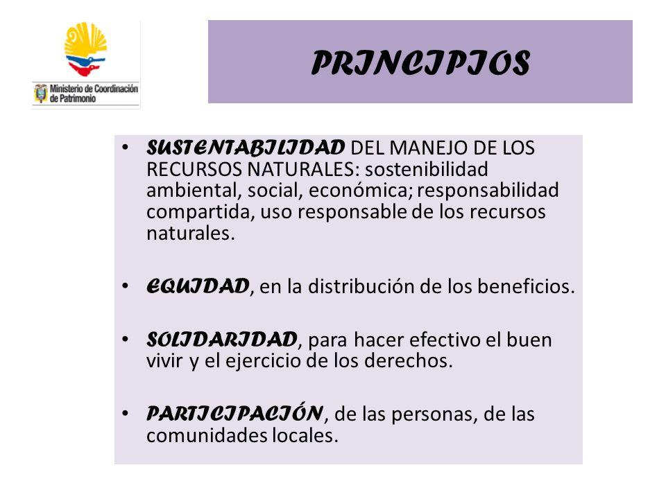 PRINCIPIOS SUSTENTABILIDAD DEL MANEJO DE LOS RECURSOS NATURALES: sostenibilidad ambiental, social, económica; responsabilidad compartida, uso responsa