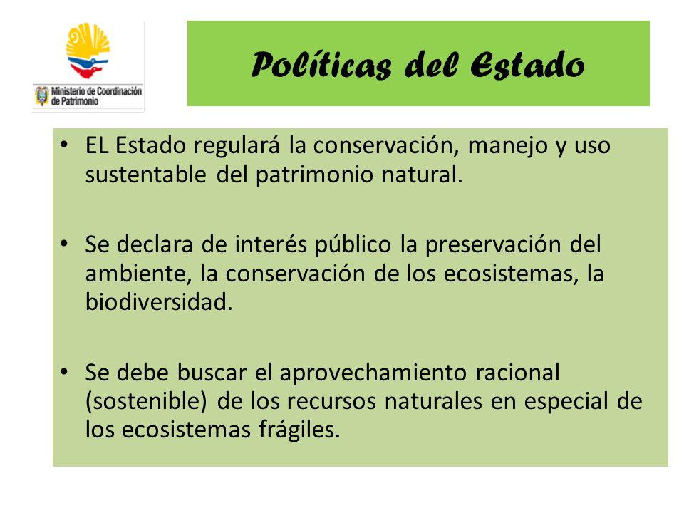 Políticas del Estado EL Estado regulará la conservación, manejo y uso sustentable del patrimonio natural. Se declara de interés público la preservació