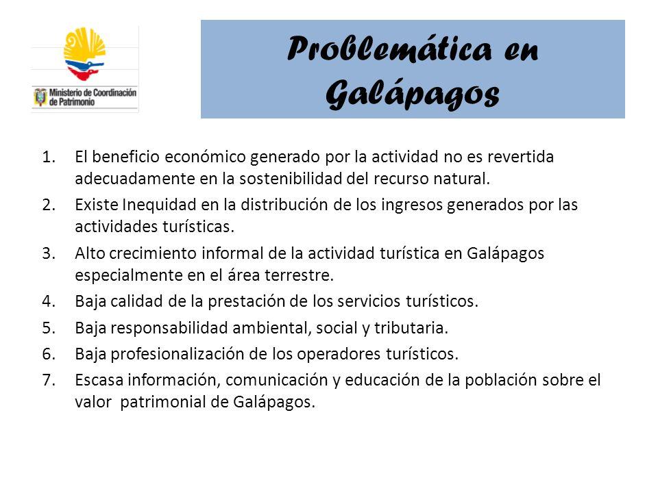 Problemática en Galápagos 1.El beneficio económico generado por la actividad no es revertida adecuadamente en la sostenibilidad del recurso natural. 2