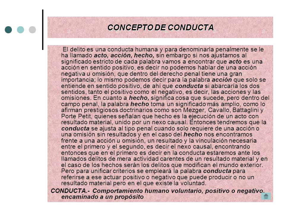 CONCEPTO DE CONDUCTA El delito es una conducta humana y para denominarla penalmente se le ha llamado acto, acción, hecho, sin embargo si nos ajustamos