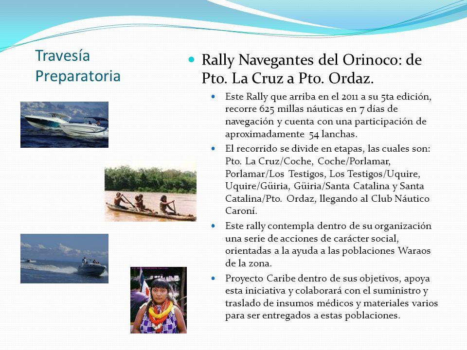 Travesía Preparatoria Rally Navegantes del Orinoco: de Pto. La Cruz a Pto. Ordaz. Este Rally que arriba en el 2011 a su 5ta edición, recorre 625 milla