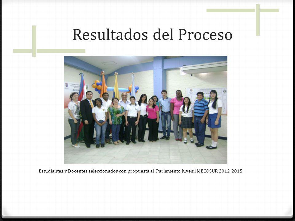 Resultados del Proceso Estudiantes y Docentes seleccionados con propuesta al Parlamento Juvenil MECOSUR 2012-2015
