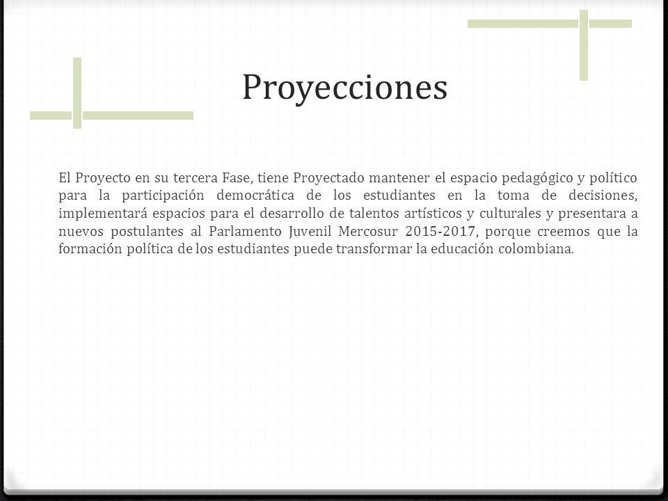 Proyecciones El Proyecto en su tercera Fase, tiene Proyectado mantener el espacio pedagógico y político para la participación democrática de los estud