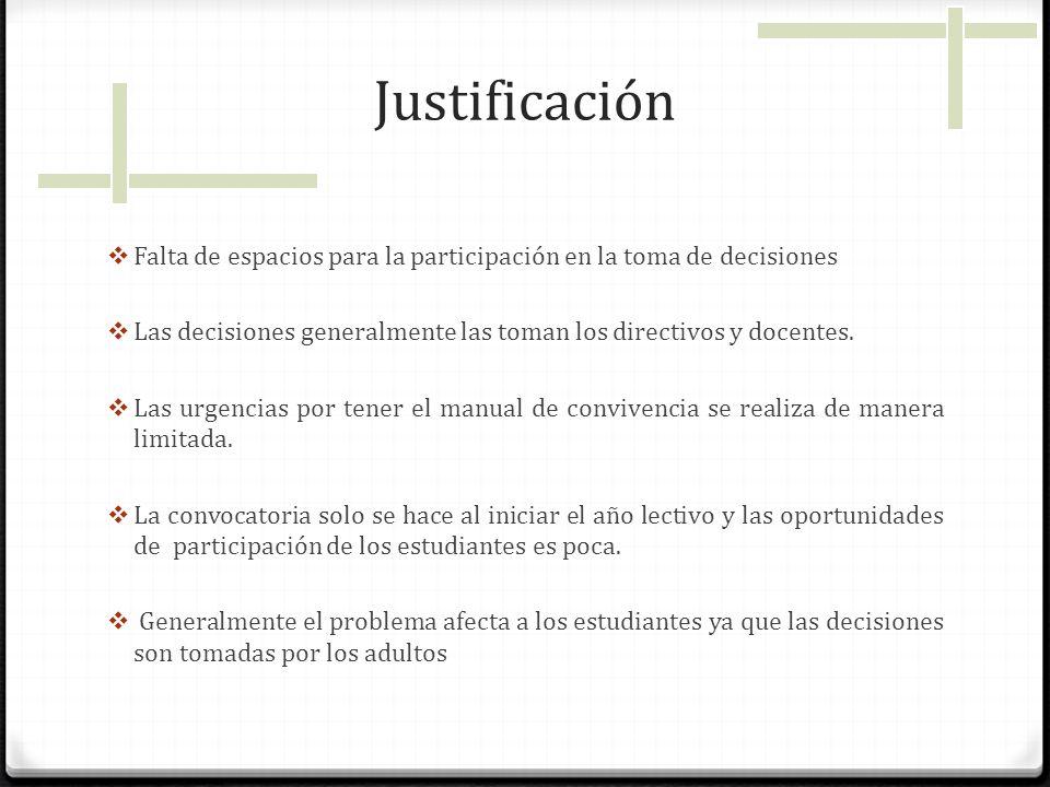 Justificación Falta de espacios para la participación en la toma de decisiones Las decisiones generalmente las toman los directivos y docentes. Las ur