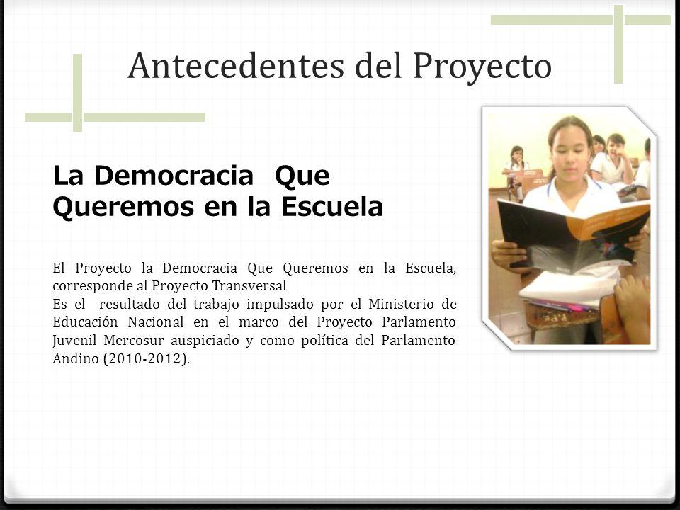 Antecedentes del Proyecto La Democracia Que Queremos en la Escuela El Proyecto la Democracia Que Queremos en la Escuela, corresponde al Proyecto Trans