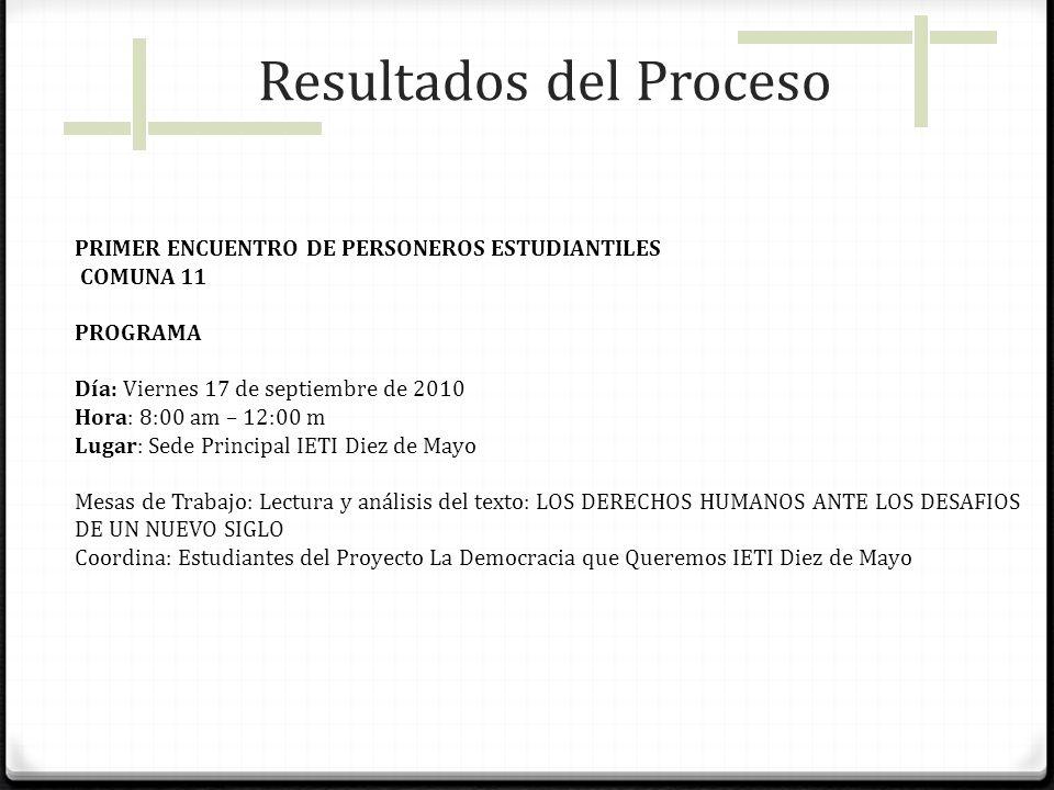 PRIMER ENCUENTRO DE PERSONEROS ESTUDIANTILES COMUNA 11 PROGRAMA Día: Viernes 17 de septiembre de 2010 Hora: 8:00 am – 12:00 m Lugar: Sede Principal IE