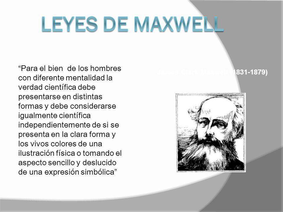 James Clerk Maxwell (1831-1879) Para el bien de los hombres con diferente mentalidad la verdad científica debe presentarse en distintas formas y debe