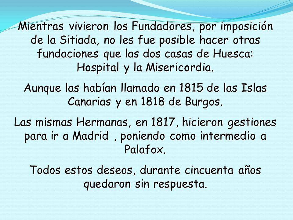 Las Hermanas y los Hermanos llegan a Zaragoza, el 28 de Diciembre de 1804.