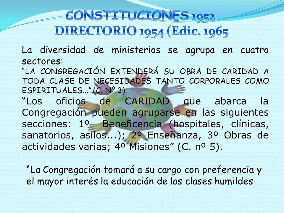 Estas Constituciones llevan el Decreto de Aprobación de la Congregación, donde Roma aprueba el sentido de Caridad Universal expresado en los distintos ministerios.