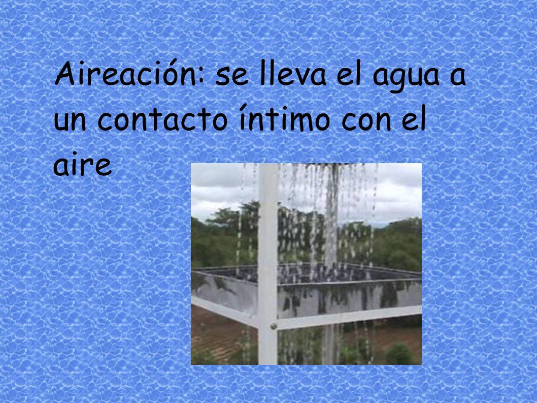 Aireación: se lleva el agua a un contacto íntimo con el aire
