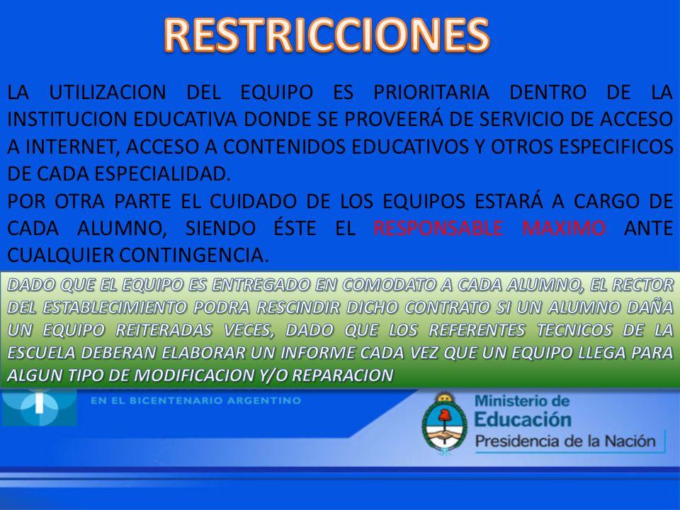 LA UTILIZACION DEL EQUIPO ES PRIORITARIA DENTRO DE LA INSTITUCION EDUCATIVA DONDE SE PROVEERÁ DE SERVICIO DE ACCESO A INTERNET, ACCESO A CONTENIDOS EDUCATIVOS Y OTROS ESPECIFICOS DE CADA ESPECIALIDAD.