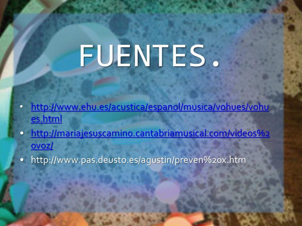 FUENTES. http://www.ehu.es/acustica/espanol/musica/vohues/vohu es.html http://www.ehu.es/acustica/espanol/musica/vohues/vohu es.html http://www.ehu.es
