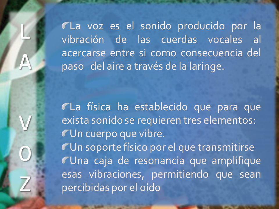 La voz es el sonido producido por la vibración de las cuerdas vocales al acercarse entre si como consecuencia del paso del aire a través de la laringe