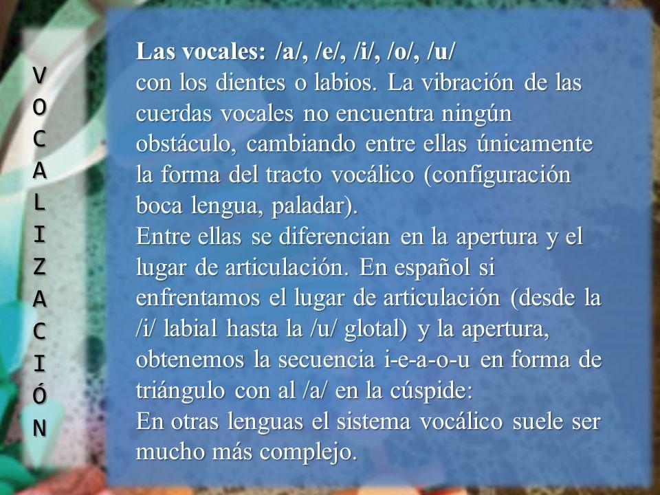 Las vocales: /a/, /e/, /i/, /o/, /u/ con los dientes o labios. La vibración de las cuerdas vocales no encuentra ningún obstáculo, cambiando entre ella