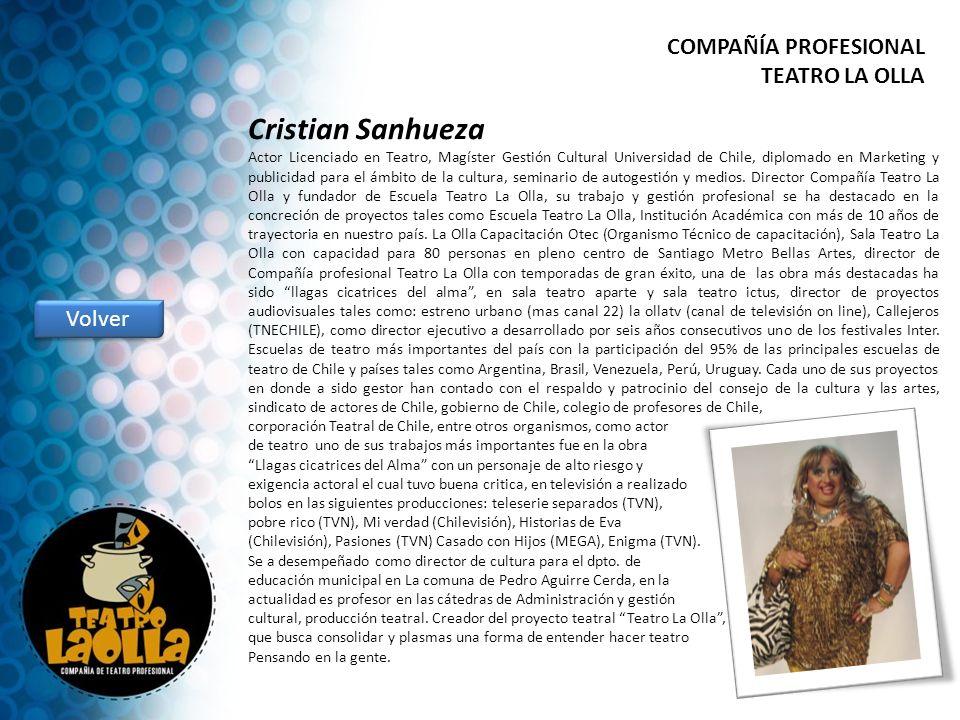 Cristian Sanhueza Actor Licenciado en Teatro, Magíster Gestión Cultural Universidad de Chile, diplomado en Marketing y publicidad para el ámbito de la