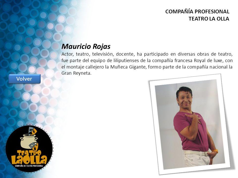 Mauricio Rojas Actor, teatro, televisión, docente, ha participado en diversas obras de teatro, fue parte del equipo de liliputienses de la compañía fr