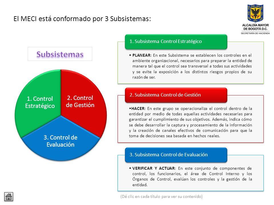 El MECI - Modelo Estándar de Control Interno proporciona una estructura para el control a la estrategia, la gestión y la evaluación; tiene como fin se