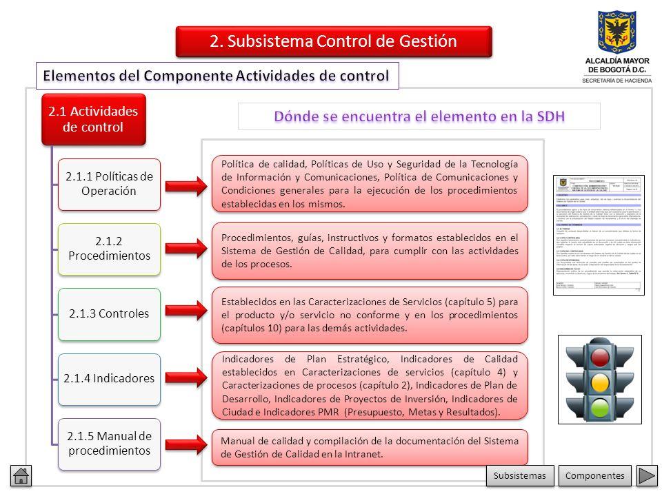2.1 Actividades de control 2.1.1 Políticas de Operación 2.1.2 Procedimientos 2.1.3 Controles2.1.4 Indicadores 2.1.5 Manual de procedimientos Política de calidad, Políticas de Uso y Seguridad de la Tecnología de Información y Comunicaciones, Política de Comunicaciones y Condiciones generales para la ejecución de los procedimientos establecidas en los mismos.