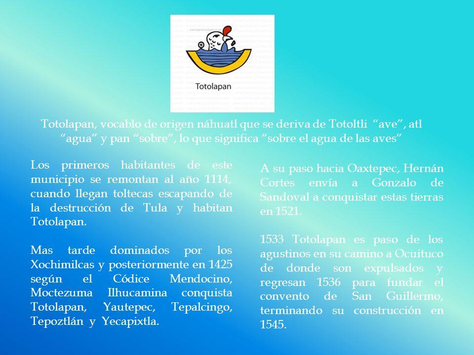 Totolapan, vocablo de origen náhuatl que se deriva de Totoltli ave, atl agua y pan sobre, lo que significa sobre el agua de las aves Los primeros habitantes de este municipio se remontan al año 1114, cuando llegan toltecas escapando de la destrucción de Tula y habitan Totolapan.