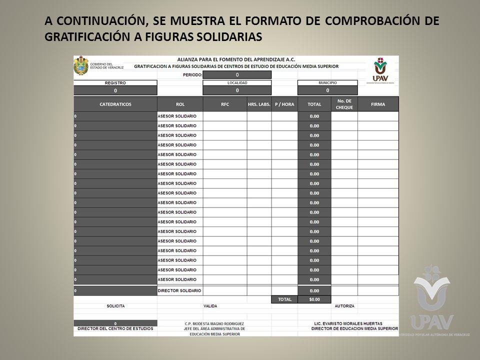 A CONTINUACIÓN, SE MUESTRA EL FORMATO DE COMPROBACIÓN DE GRATIFICACIÓN A FIGURAS SOLIDARIAS